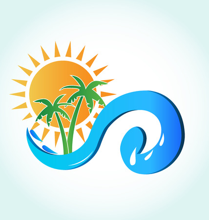 Sun beach tropical template icon background vector image logo Illustration