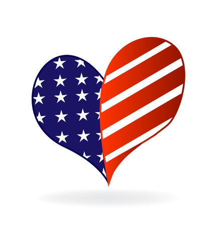 national identity: Love heart USA flag vector icon image