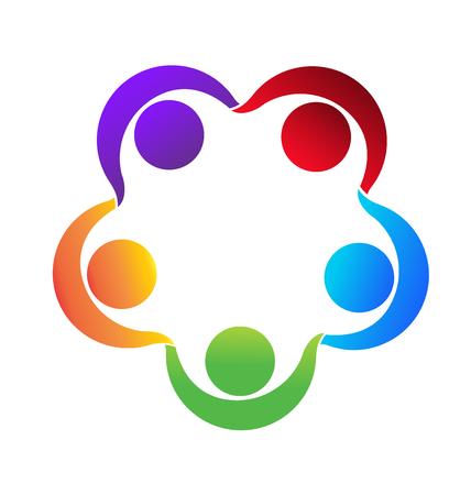 Holding hands teamwork people  vivid colorful icon design vector Illustration