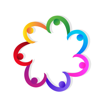 Holding hands teamwork successs people vivid colorful icon design vector