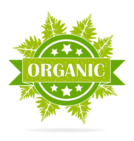 Organic seal product ecology symbol label icon design  vector