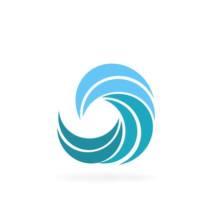 Sunset landscape vector: thiết kế đồ họa màu xanh sóng bãi biển icon vector