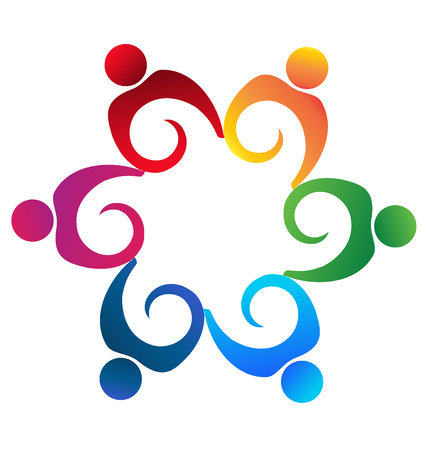 together voluntary: Teamwork swirly people icon vector image