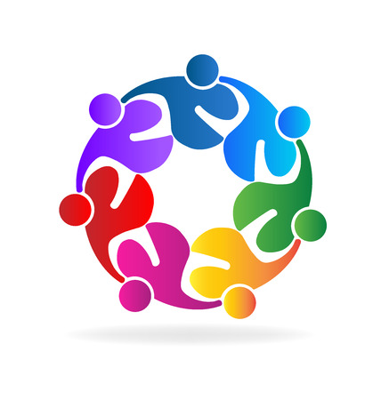 Teamwork hugging people icon vector image