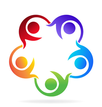 together voluntary: Teamwork helping people icon vector image Illustration