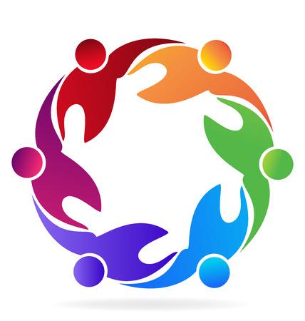 Lavoro di squadra che abbraccia l'immagine vettoriale icona della gente Vettoriali