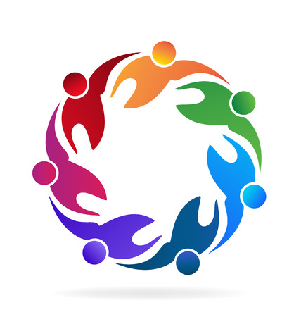 personas abrazadas: El trabajo en equipo de imagen de icono de vector abrazando a la gente