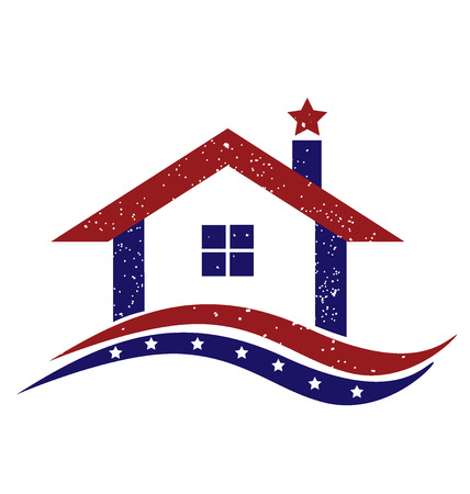 national identity: Patriotic house with USA flag icon illustration vector image design