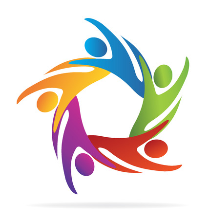 Teamwork  abstract business people icon template
