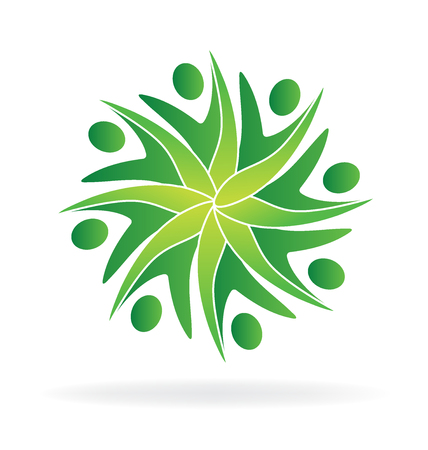 Green teamwork  ecology people icon