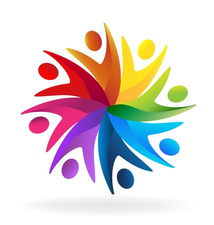 voluntary: Teamwork business people icon template Illustration