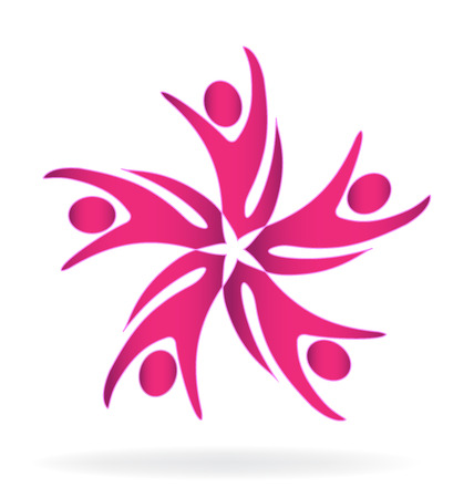 Teamwork  abstract business pink people icon template