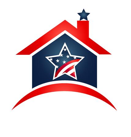 Dům USA vlajky ikonu ilustrační vektoru Ilustrace