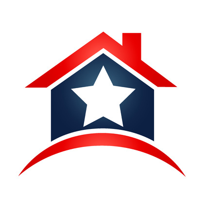 flagged: House USA flag icon illustration vector