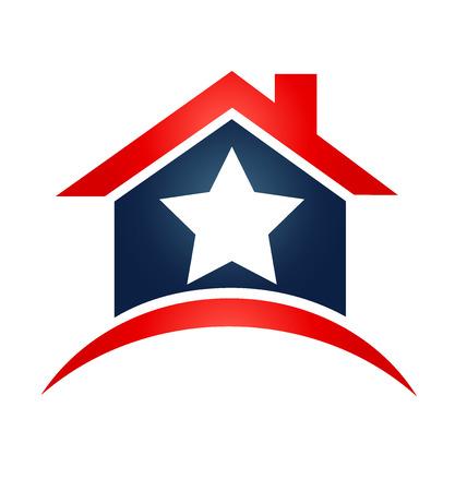 House USA flag icon illustration vector
