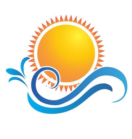Sunset beach water splash vector icon identity