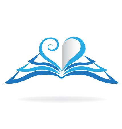 leccion: Icono del libro de amor forma de corazón azul. plantilla Concepto de la educación