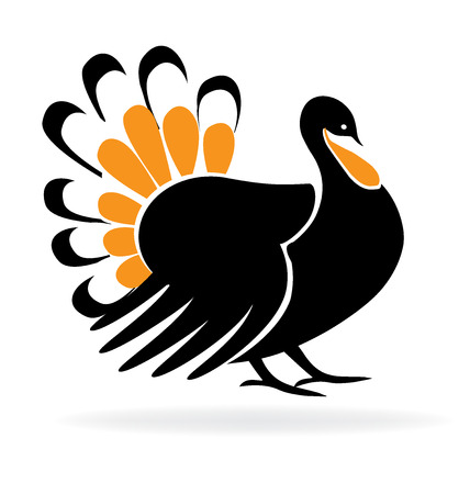 happy black people: Happy Thanksgiving Turkey Symbol Holiday template icon