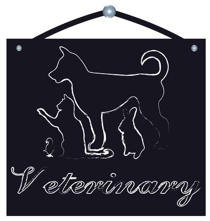 welfare: Pets in chalkboard for veterinary (dog,cat,rabbit and bird) design Illustration