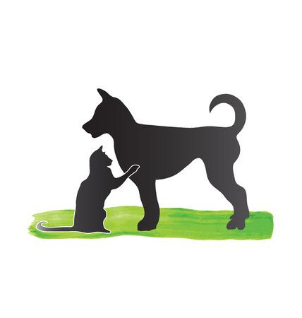 Kat en hond silhouetten Vector Illustratie