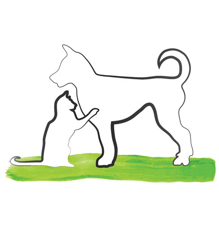 dog walking: Cat and dog outline sketch