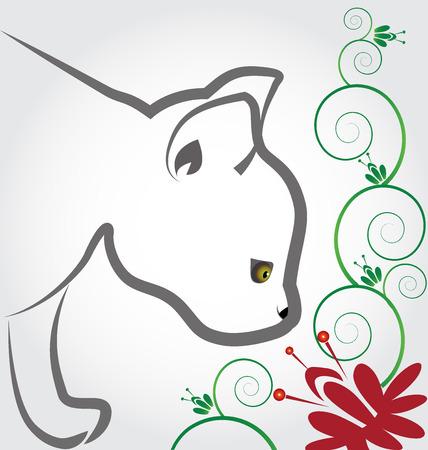 Silueta del gato decoración floral negocio calcomanía