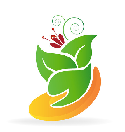 Hand helps growth plants and flowers icon vector image Illustration