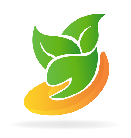Hand helps growth plant icon vector image Illustration