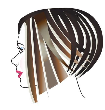 De beaux cheveux de fille visage vecteur icône d'image Banque d'images - 63530870