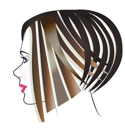 Beautiful face hair girl vector image icon Illustration