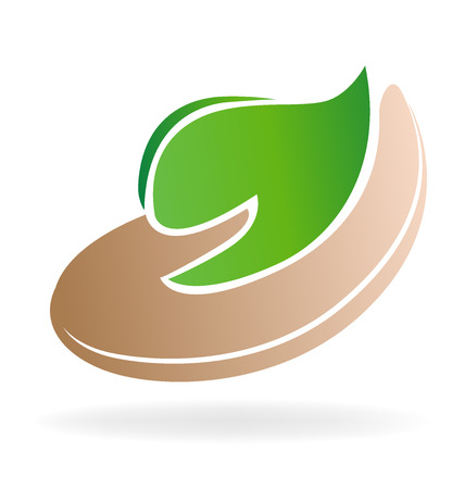caring: Caring green leafs icon vector image