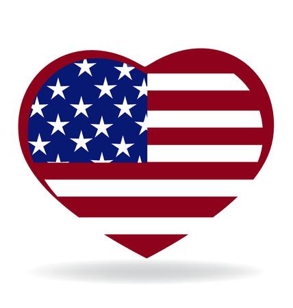 Heart love USA flag emblem icon