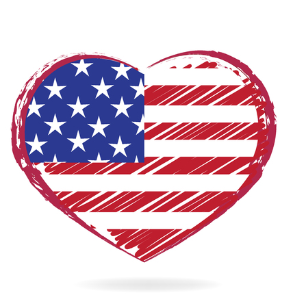 Heart love USA flag vintage icon