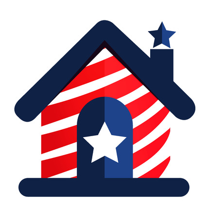 the americas: House of American people icon vector image Illustration