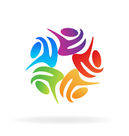 Teamwork abstract people icon vector image template