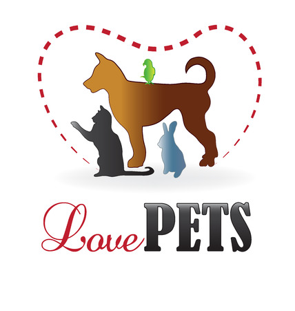 wścieklizna: Love pets colorful silhouettes icon business card vector