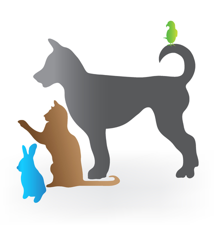 wścieklizna: Pets cat dog rabbit and parrot silhouettes icon vector image Ilustracja