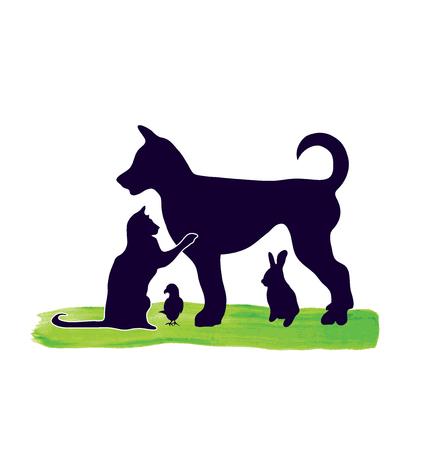 ペット猫犬ウサギとオウム シルエット アイコン ベクトル画像