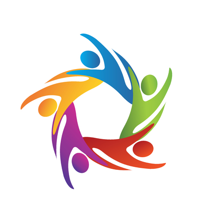 voluntary: Teamwork business people icon vector image template