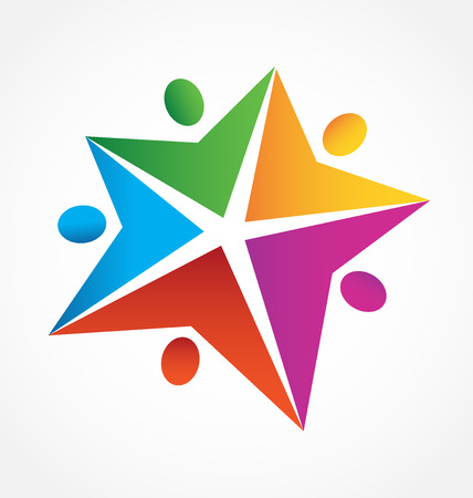 Teamwork star shape people icon vector image template Illustration