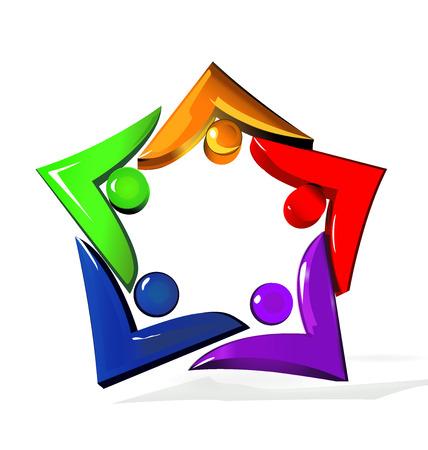 nonprofit: Teamwork unity people shine star shape icon vector