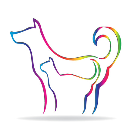 wścieklizna: Cat and Dog rainbow silhouette