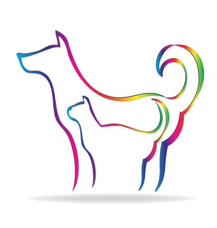 obey: El gato y el perro de la silueta del arco iris