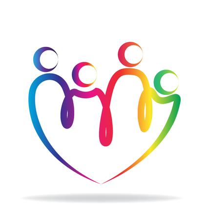Famille forme de coeur de contour vecteur