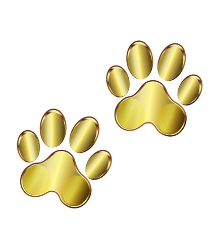 dog walking: Paw print gold design vector
