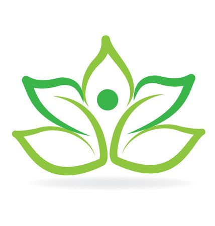 healthy woman: Yoga man green lotus leafs vector image design