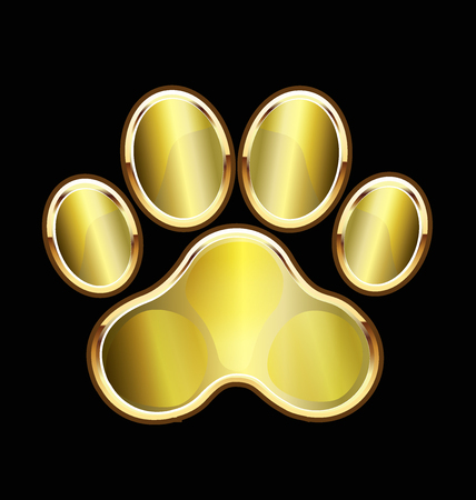 dog walking: Dog gold foot print icon vector Illustration