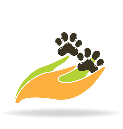 Dog foot print with hands concept of protection icon vector