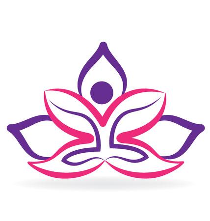 Yoga man lotus outline graphic vector image design Illustration