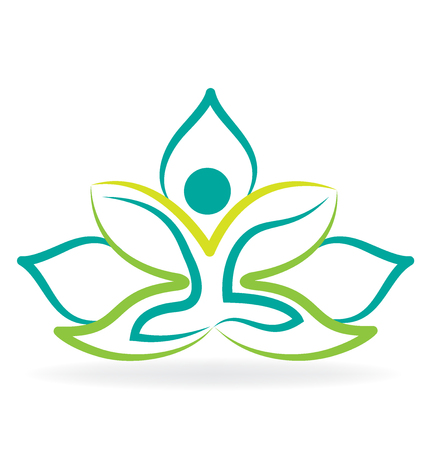 Yoga man lotus silhouette graphic vector image design